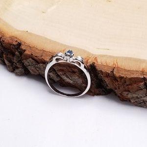 Silver Tone Blue Stone Gem Bow Ribbon Ring 8.5